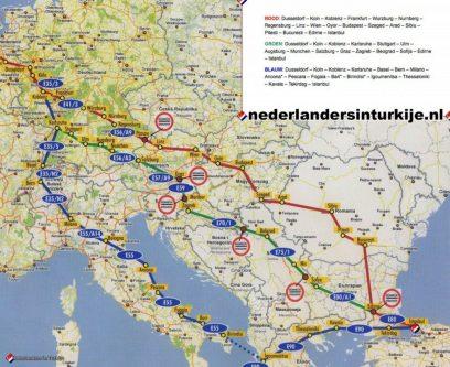 Drie bekende routes van Nederland naar Turkije